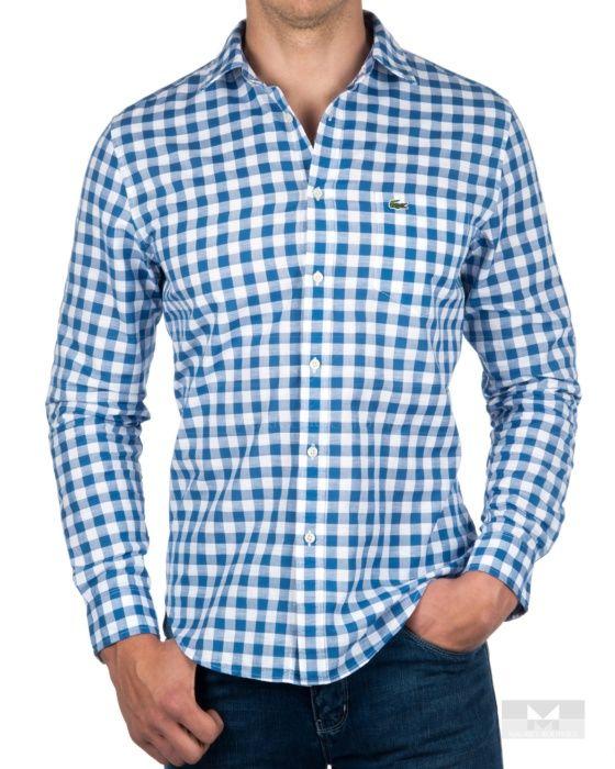 81c3bfeeb1bec Camisa Lacoste de cuadros manga larga - Azul Celeste   chaquetas en ...