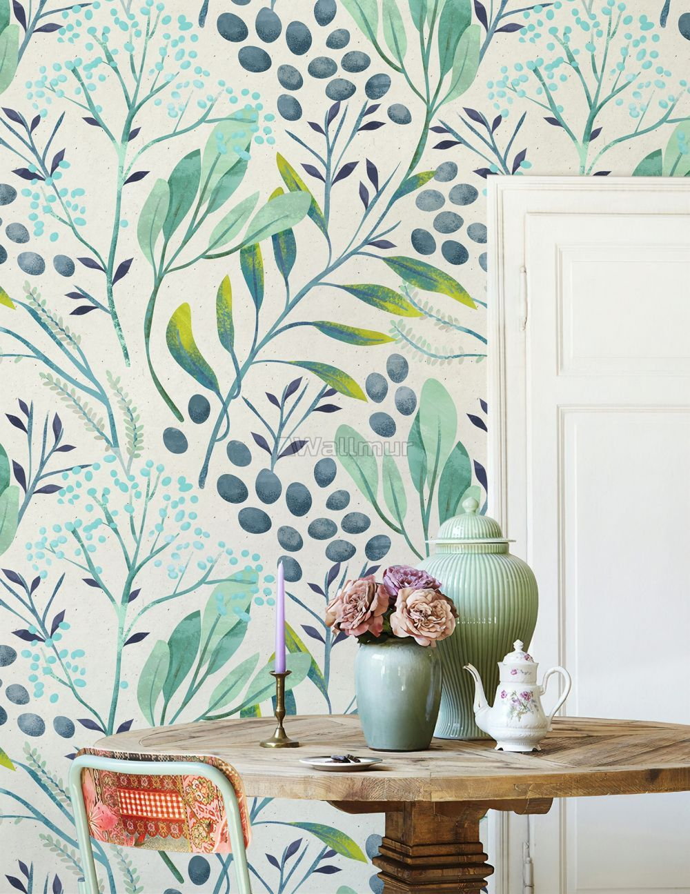 Sage Green Feather Wallpaper Peel And Stick Green Feathery Etsy Green Home Offices Living Room Green How To Install Wallpaper