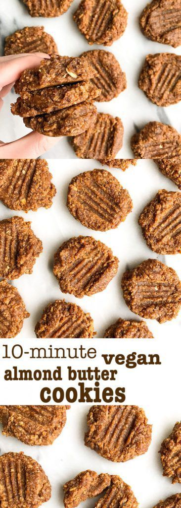 10minute Vegan Almond Butter Cookies is part of Vegan dessert Healthy - 10minute Vegan Almond Butter Cookies for a quick and easy dessert! Only 6 ingredients and they are nutritious and delicious! Glutenfree & vegan