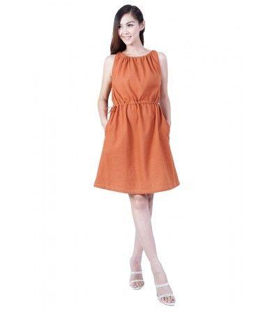 100%cotton  Adjustable neck line  Hidden side pockets  Drawstring waist  Made in Chiang Mai Thailand  Cost : 1290 1USD = 33 Baht