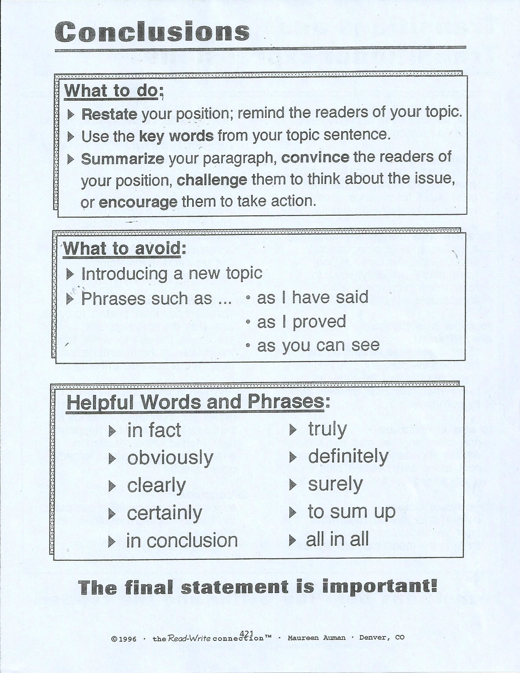 writing prompts for a paragraph would be great to print out cut some people it difficult to write a conclusion for their paper this summarizes what to do what to avoid and words that can help build up a strong
