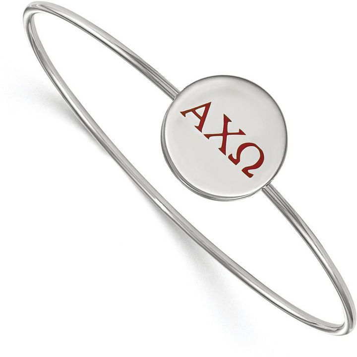 Zales Black Enamel Chi Omega Sorority Slip-on Bangle in Sterling Silver HLzBhfPFR