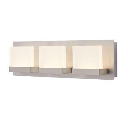 home decorators collection alberson collection 3 light brushed nickel led bath bar light - Home Decorators Collection Lighting