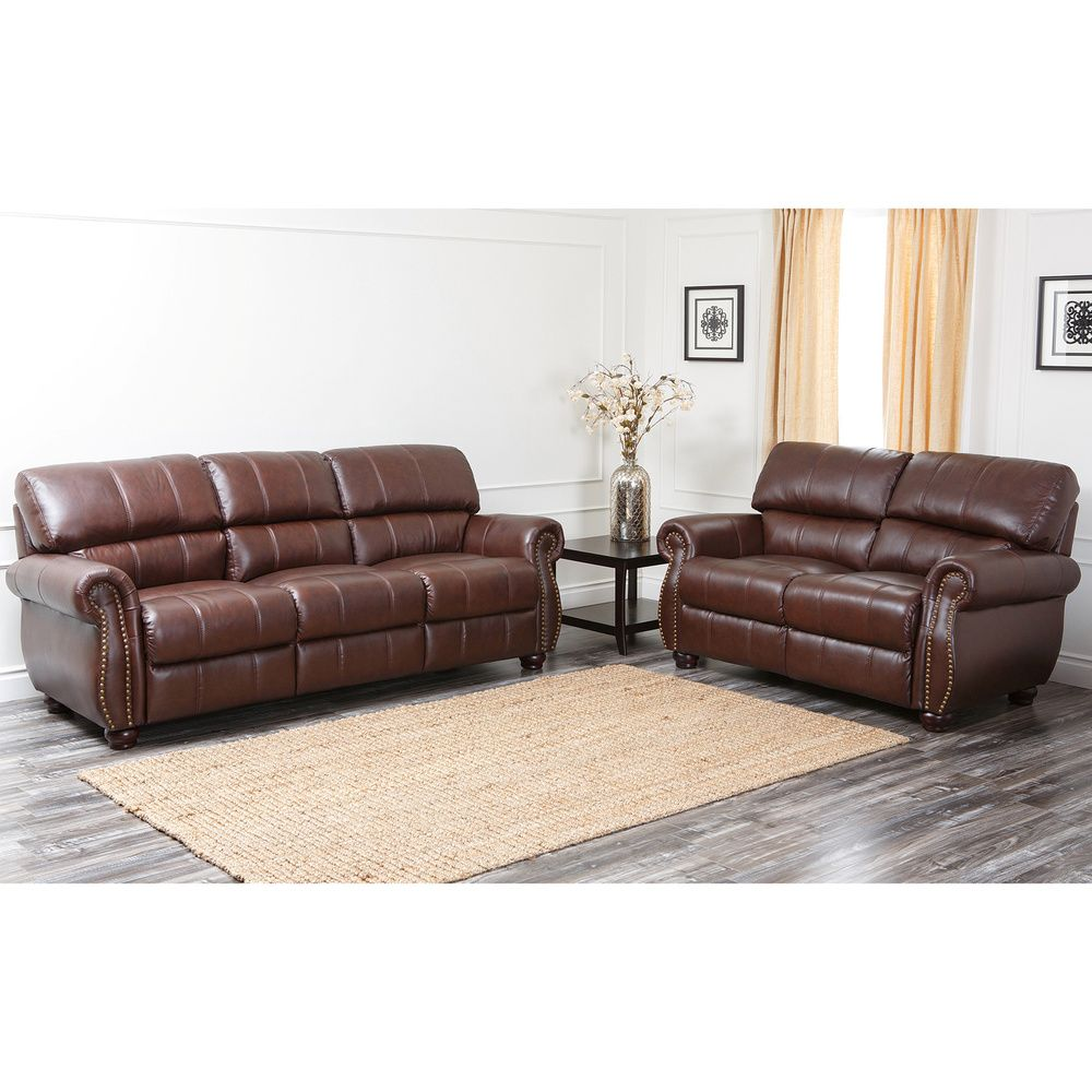 Pleasing Abbyson Living Ashley Premium Top Grain Leather Sofa And Gmtry Best Dining Table And Chair Ideas Images Gmtryco