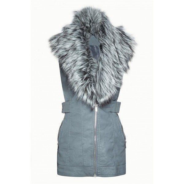 FUR FRONT PU GILET (51 PLN) ❤ liked on Polyvore featuring outerwear, vests, gilet vest, fur vests, fur waistcoat, blue vest and blue fur vest