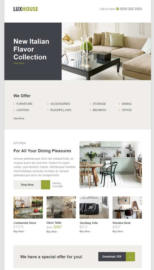LUXHOUSE ECommerce Email Template Email - Best ecommerce email templates