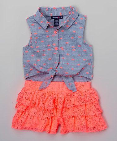 cf9305129356 Love this Neon Coral Ruffle Romper - Toddler   Girls on  zulily!   zulilyfinds