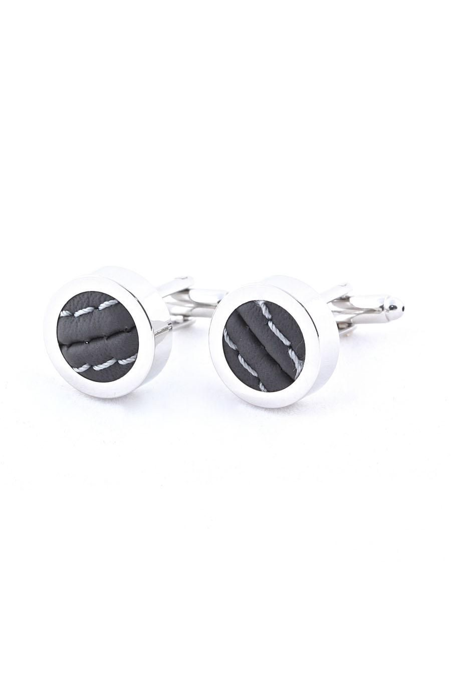 GREY FERRARI LEATHER CUFFLINKS