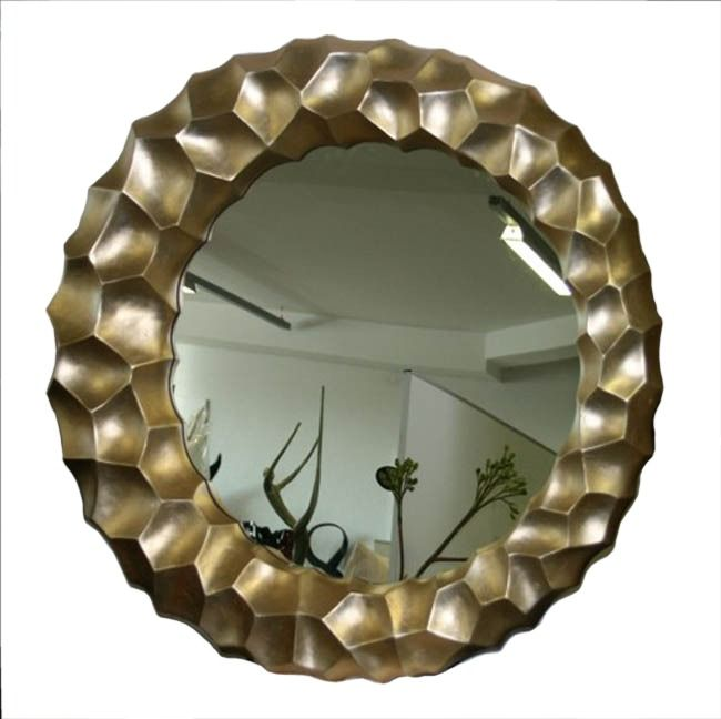 Mirror Wall Sculpture mirror wall sculpture | contemporary round mirror-champagne