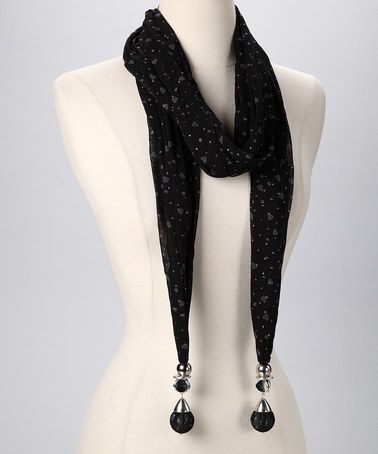 Take a look at this Black & White Hearts Scarf by Metallic Moments: Statement Jewelry on #zulily today!