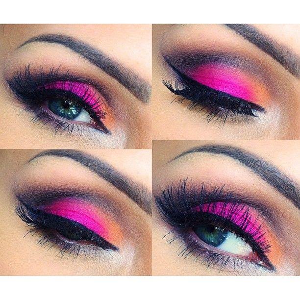 Ewelako Orange Hot Pink And Black Eye Makeup Makeup Makeup