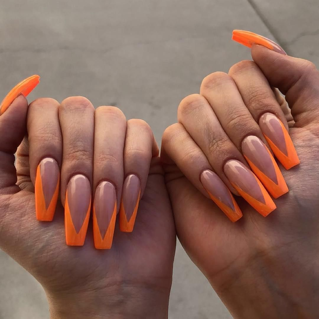 46 Gorgeous Coffin French Tip Nail Designs French Tip Nail Designs Orange Acrylic Nails Acrylic Nails