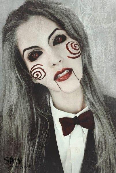 resultado de imagen para maquillaje de halloween saw mujer - Maquillaje Halloween