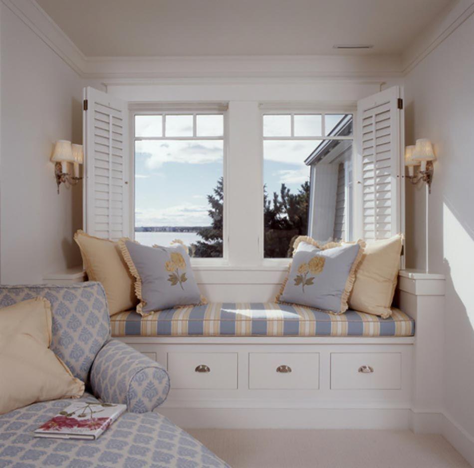 window seat ou l am nagement chambre l ambiance douillette deco pinterest banc sous les. Black Bedroom Furniture Sets. Home Design Ideas