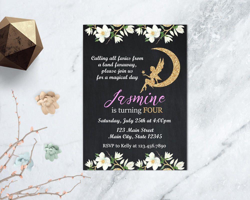 Gold Fairy Birthday Invitation, Floral Fairy Invitation, Garden Tea ...