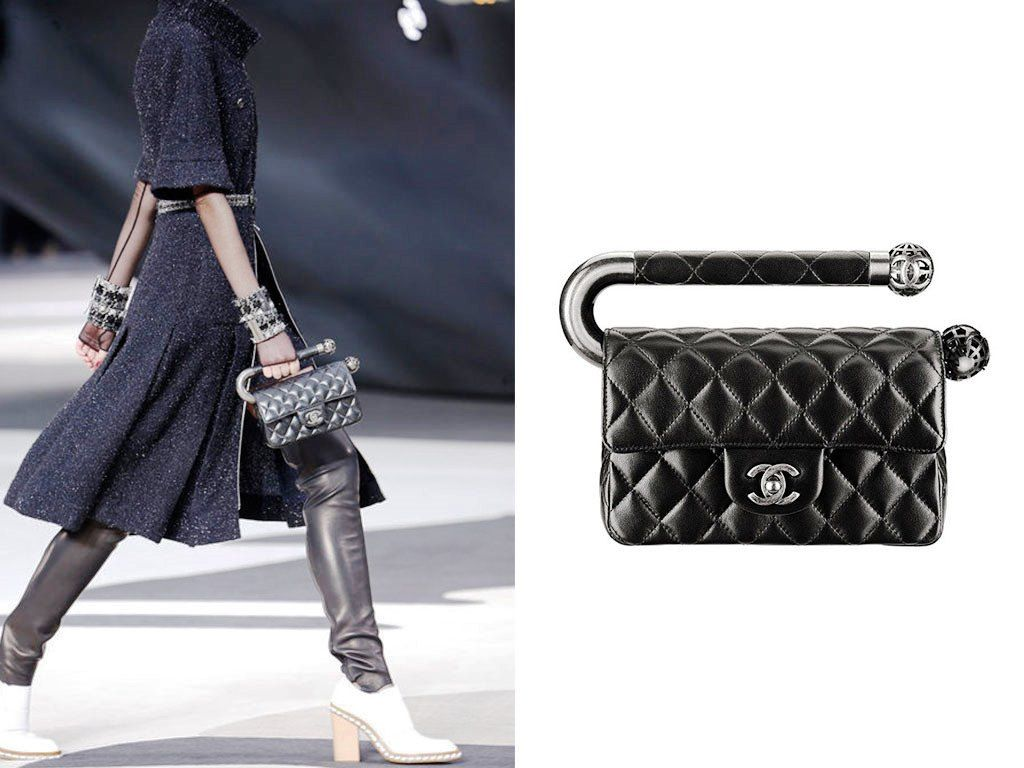 500243fb1932a7 Chanel Black Mini Flap Bag with Metal Handle Fall 2013 | Chanel ...