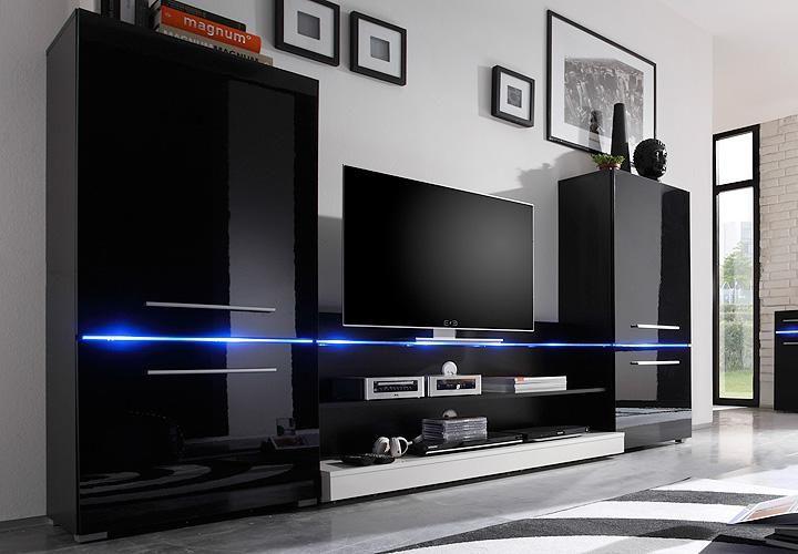 wohnwand flash schwarz hochglanz inkl. led beleuchtung | tech, Gestaltungsideen