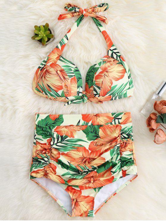 Floral Ruched High Waist Halter Bikini Set - ORANGE RED XL