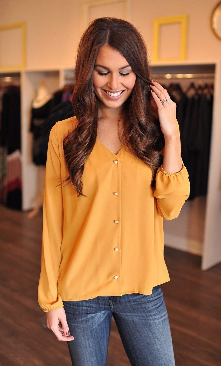 Dottie Couture Boutique - Mustard Button Up, $48.00 (http://www.dottiecouture.com/mustard-button-up/)