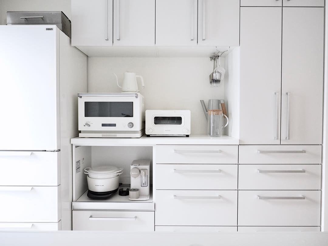 Ayumi Interior On Instagram キッチン家電ホワイト化 完了っ ロ 真っ白になりましたーー なんかね 新築みたいになった 家電の色変えるだけで全然ちがうーー ٩ I و とは言え 頻繁に買い換 キッチン 家電 キッチン 家電