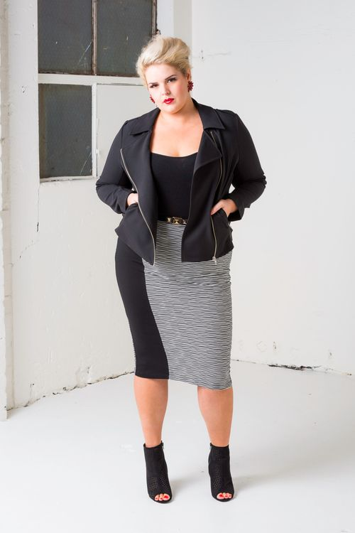 Riders In The Sky Biker Jacket With Crossword Panelled Midi Skirt Harlow Friendly Seductive