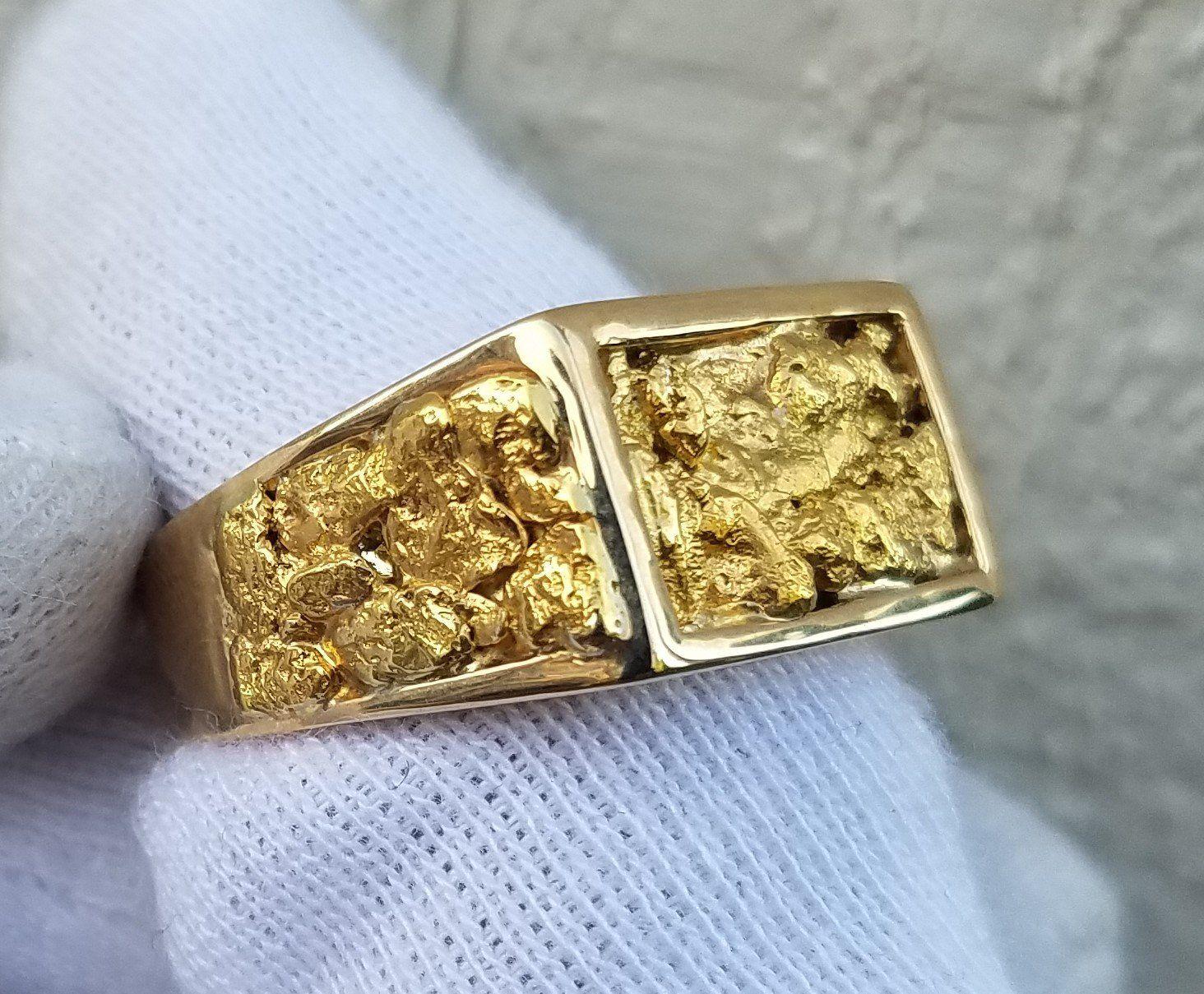 8726d1283a0d5 Natural Gold Nugget Men's Ring | Mens bracelets | Rings for men ...