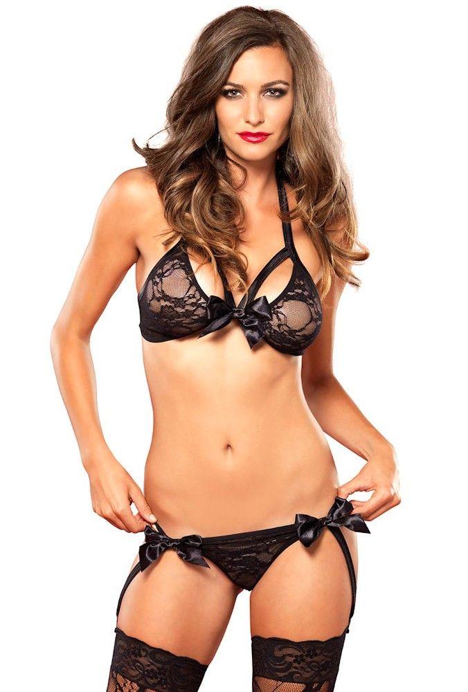 54294c340c5 Leg Avenue black strappy lace garter g-string set
