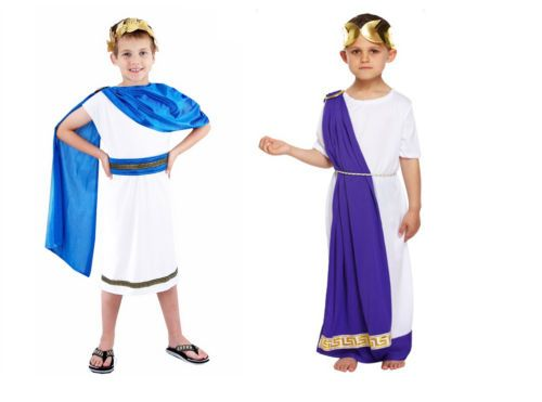 CEASER ROMAN TOGA CHILD JULIUS CAESAR THE GREAT GREEK GOD BOYS COSTUME WHITE