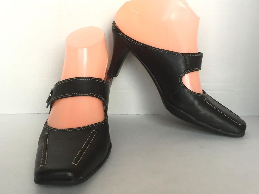 bdab29450c0e Aerosoles Women s Black Leather Slip On High Heel Mules Mary Jane Shoe SZ  US 7M  Aerosoles  Mules  Any