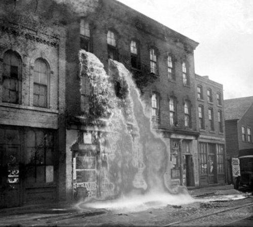 Moonshine spilled falling on Prohibition, Detroit, 1929.