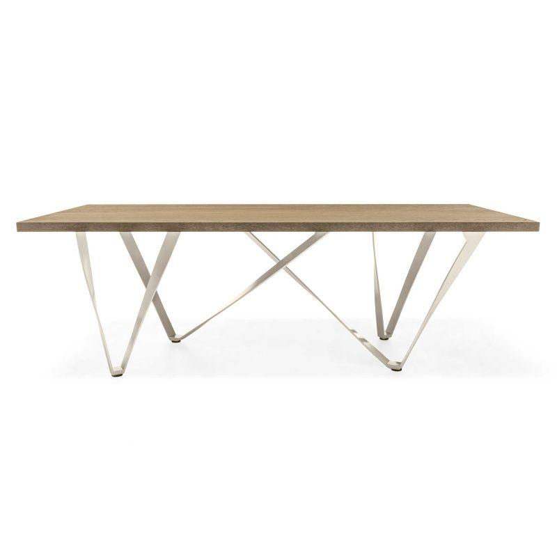 Table design rectangulaire en métal et bois - Wave Tables, Metals