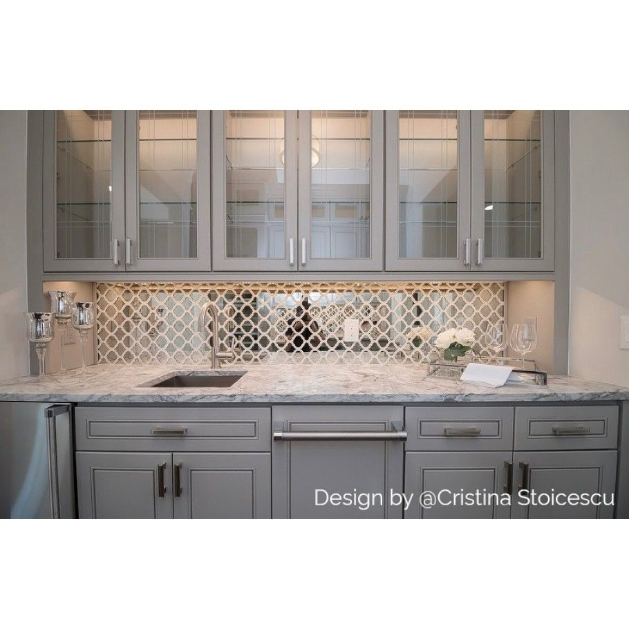 Veranda Paris Gray Antique Mirror Mosaic Tile With Quartz Accents In 2020 Mirrored Kitchen Cabinet Kitchen Cabinets Decor Grey Kitchen Designs