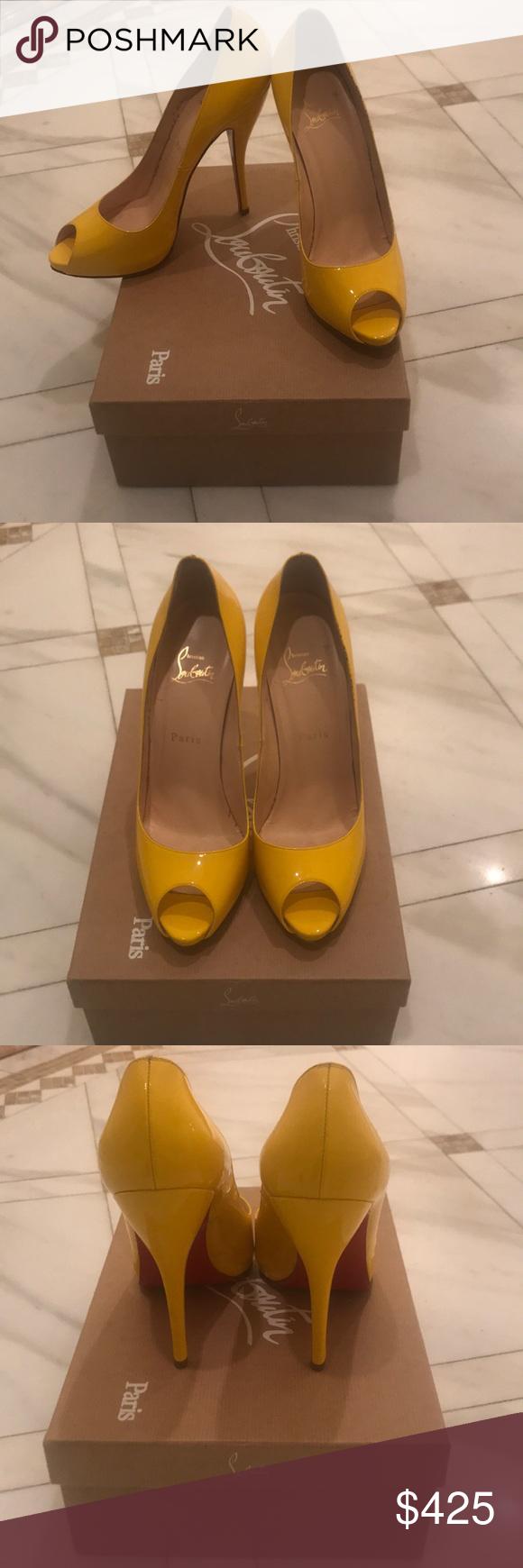 c2c70c99367 Christian Louboutin Yellow Patent Leather Peep-Toe Twice ever worn ...