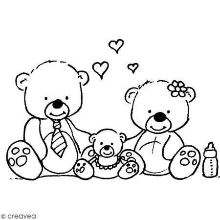 Coloriage Famille Ours.Tampon Bois Naissance Famille Ours 8 5 X 5 5 Cm Tampon