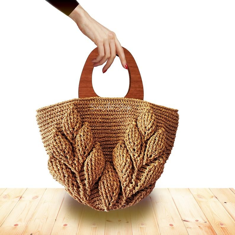 3d Textured Crochet Straw Bag With Wooden Handlescrochet Etsy Handmade Bags Raffia Bag Crochet Shoulder Bags