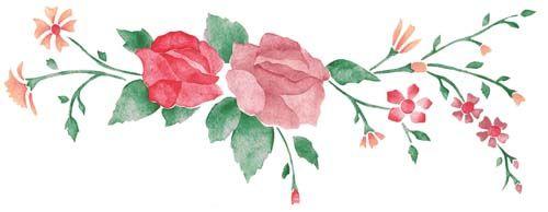 Rose Spray Wall Stencil Border | Art clipart, Stencils, Rose