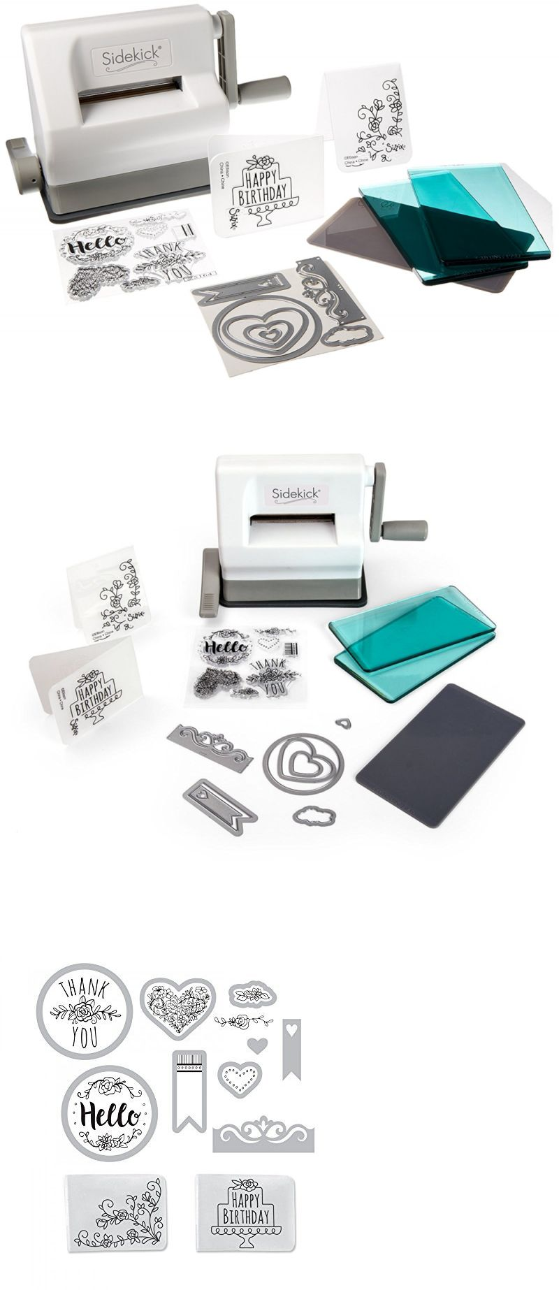Emboss... White and Gray with Aqua Cutting Plates Sizzix Sidekick Starter Kit