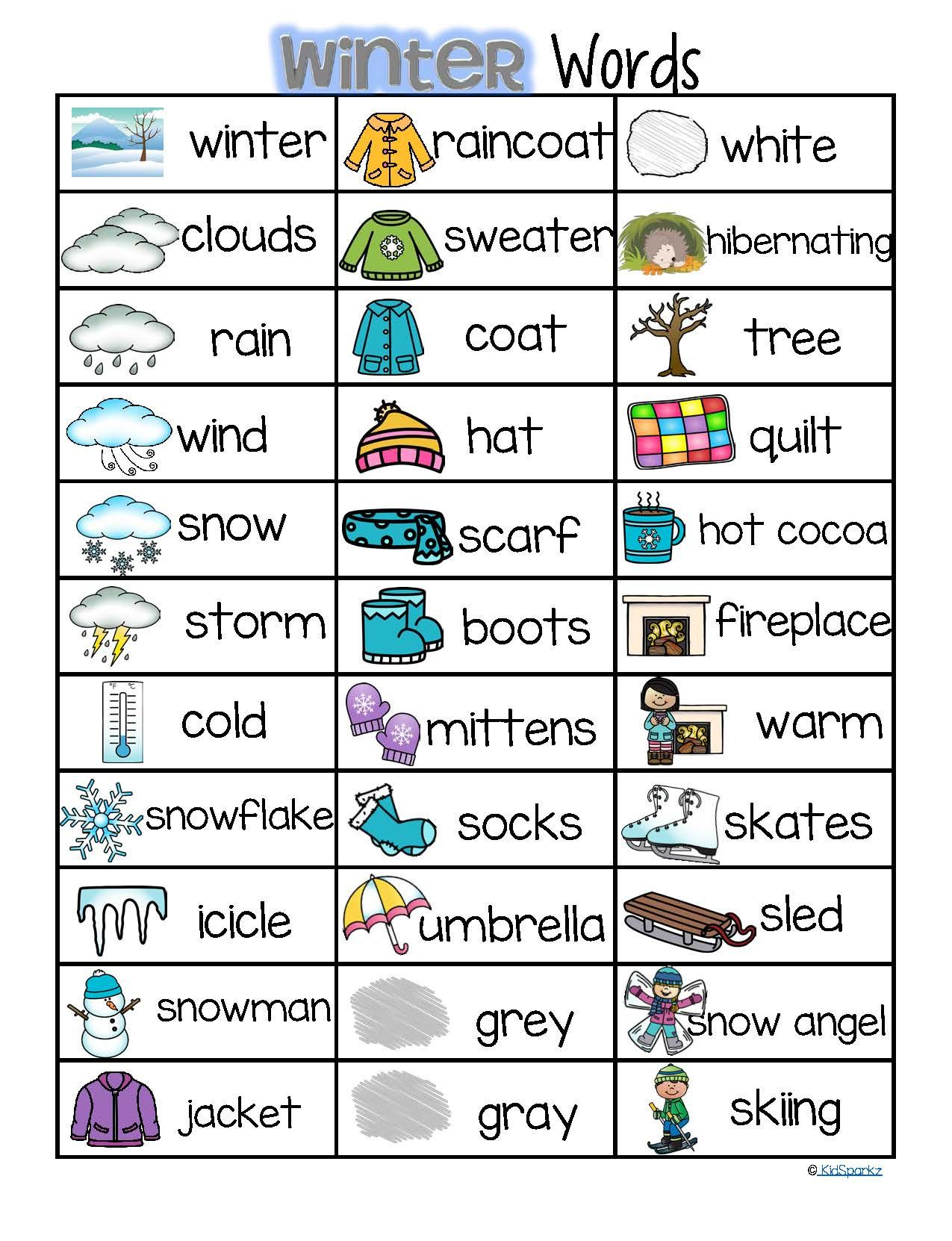 Winter Vocabulary List 32 Words And Pictures Free