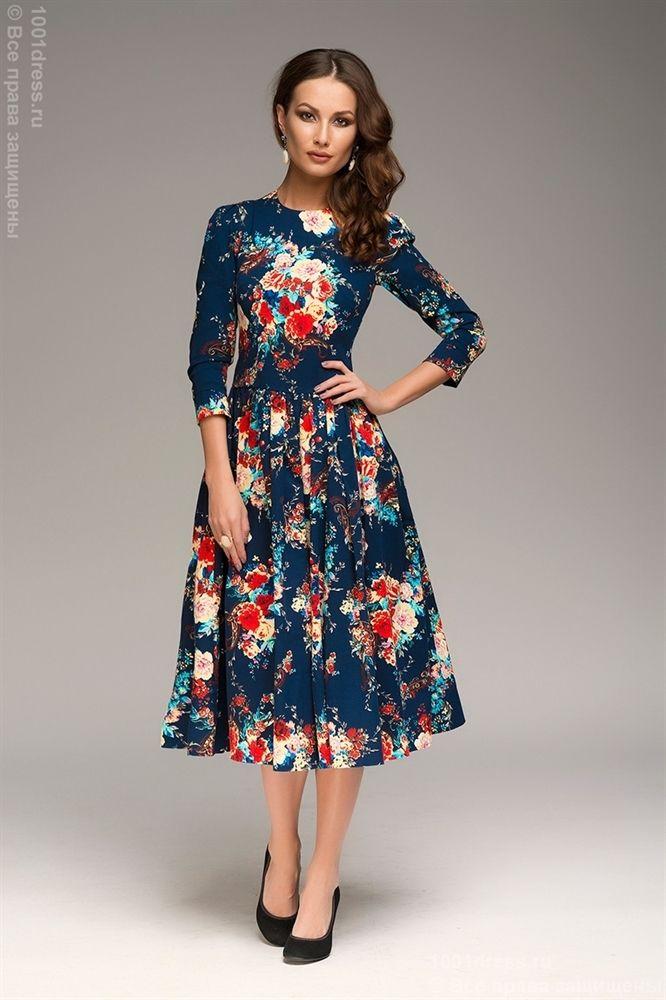 a4baf3deb40 ЛЮБЛЮ ПЛАТЬЯ интернет-магазин платьев - Платье с принтом цветы длины миди