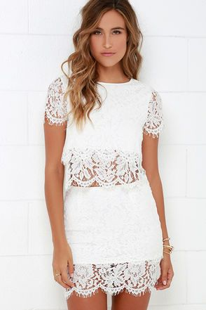 White lace overlay dress short sleeve