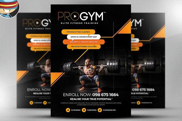 Pro Gym Fitness Flyer Template By Flyerheroes On Creativemarket
