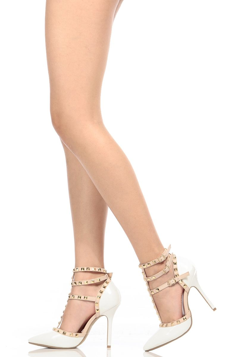 00758ed919e White Faux Patent Leather Studded Pointed Toe Single Sole Heels @ Cicihot Heel  Shoes online store sales:Stiletto Heel Shoes,High Heel Pumps,Womens High  Heel ...