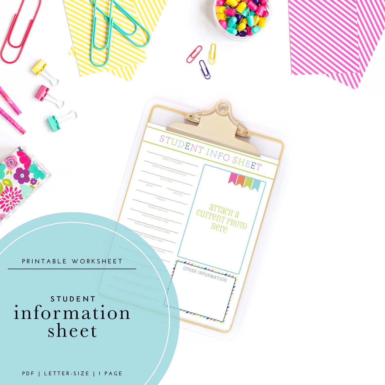 Printable Student Information Worksheet By Trewstudio On