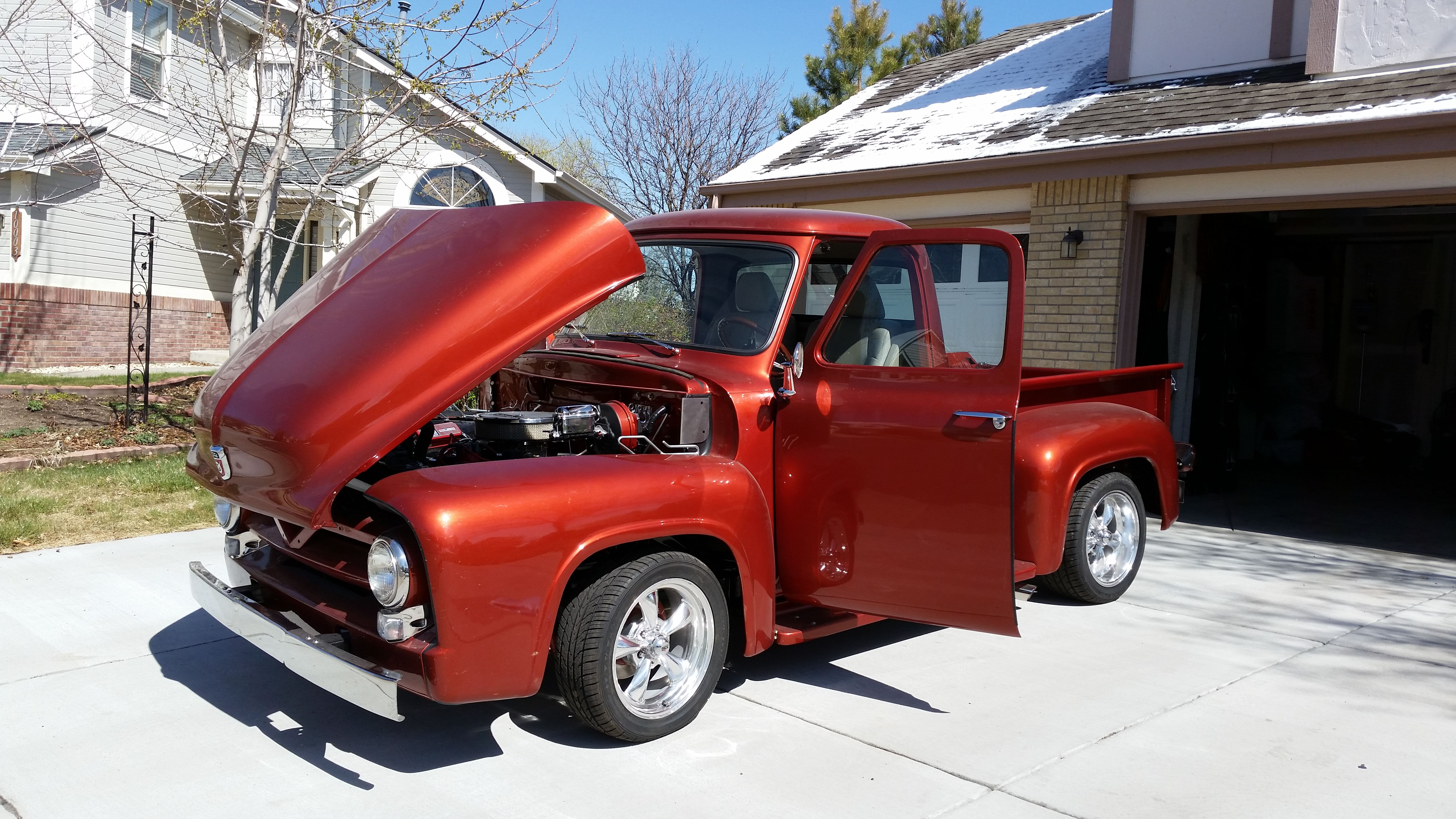 My 1955 Ford F100 With Tilt Hood On Posies Super Slide Springs Ready For The Summer Old Fords Ford Antique Cars