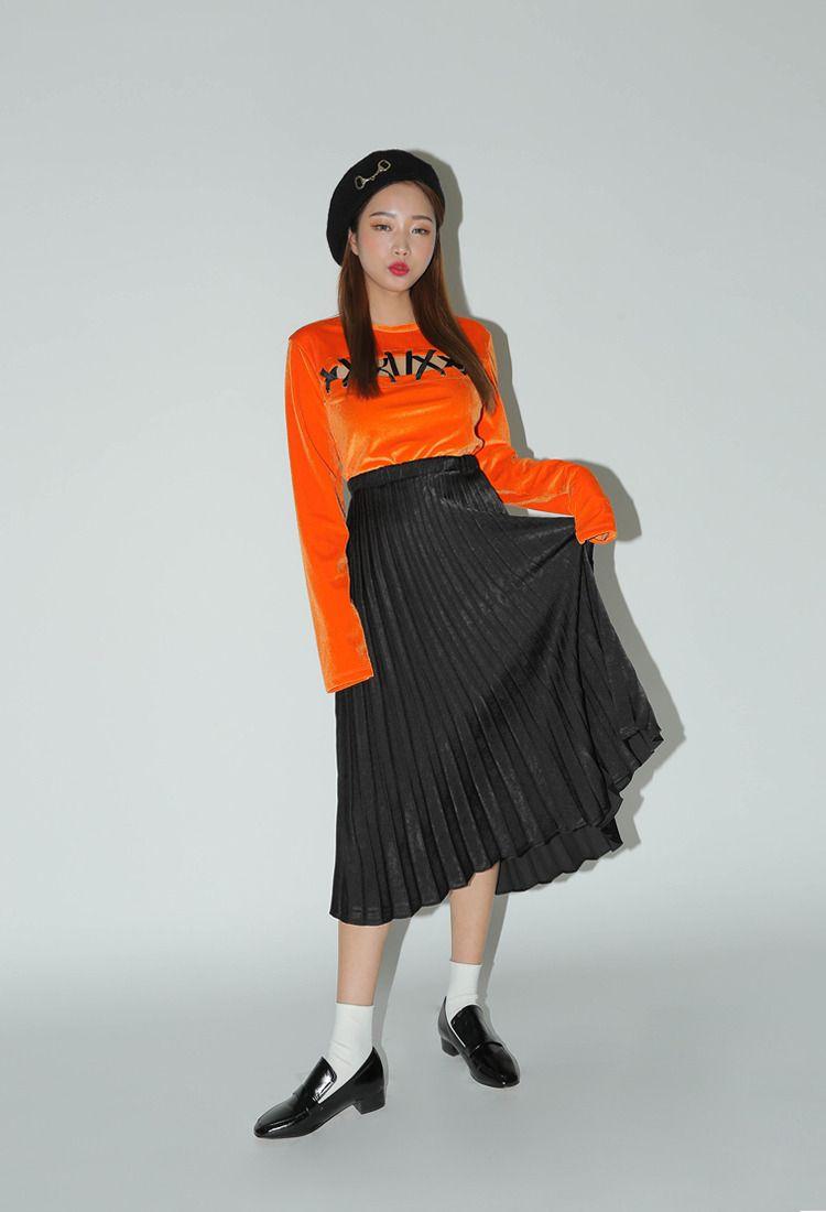 long banded waist accordion pleat skirt | stylenanda | style inspo