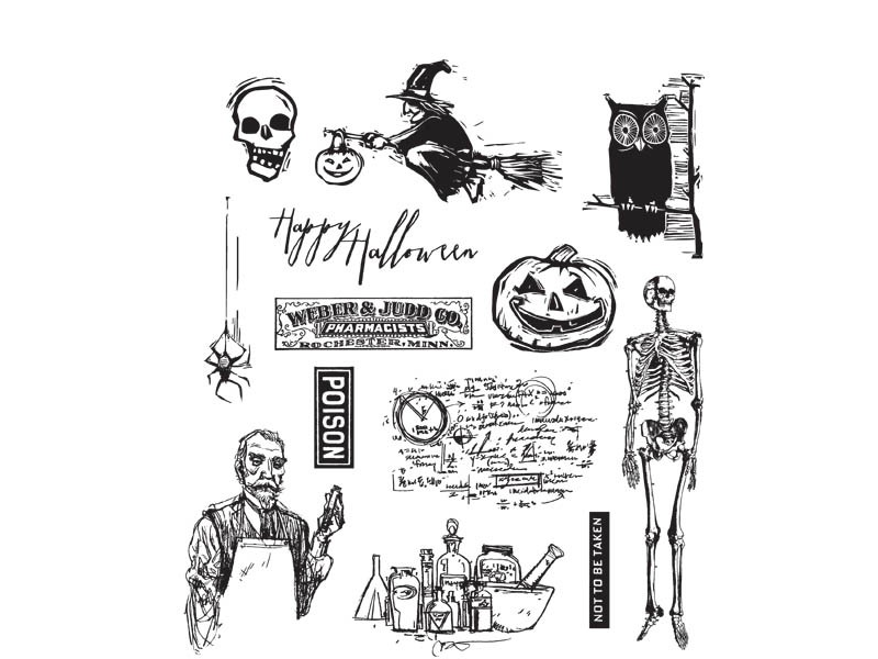 Stampers Anonymous Tim Holtz Cling Mount Stamps: Mini Halloween
