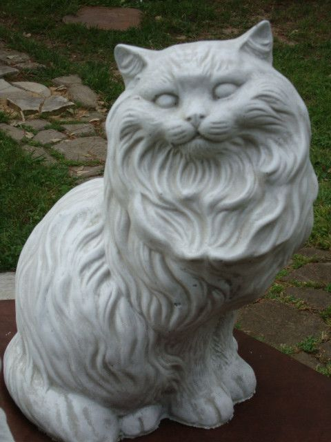 Merveilleux My Grandparents Had This. I Have To Have It. BIG FAT FANCY CAT CONCRETE/CEMENT  GARDEN STATUE G/WHITE $56.99