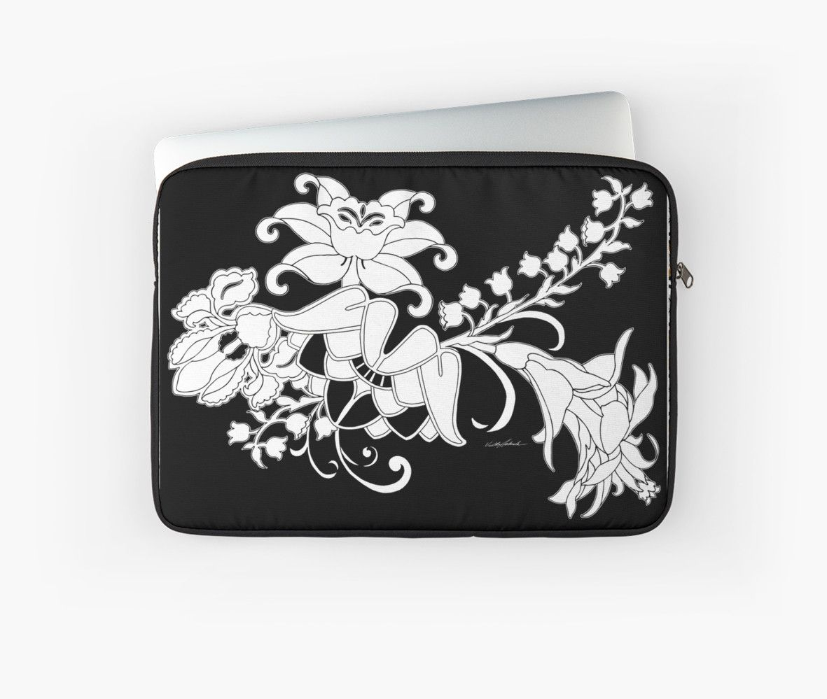 Palace Garden Laptop Sleeves by PolkaDotStudio, #new #black #white #graphic #floral #flower #garden #nouveau #deco #art on #fashion #tech #accessories for #laptops #MacBook for #office #home #gift