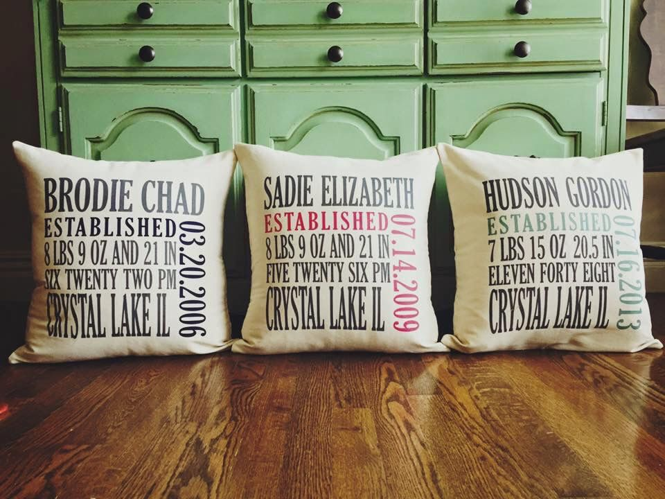 Customize your pillow with your kids\' names, birthdays, and more ...
