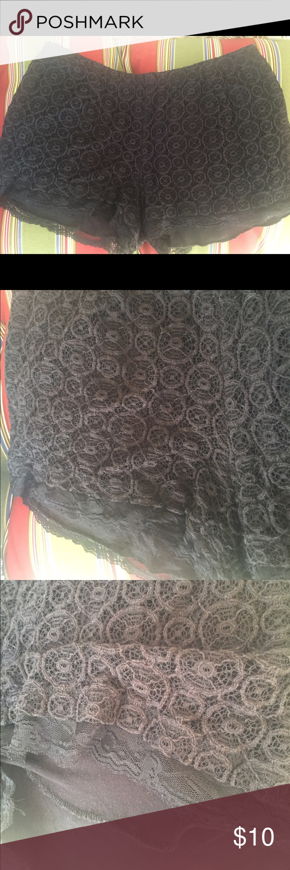 Black crochet shorts XL These cute black crochet shorts are perfect for spring and summer. They are a stretchy material and is lined. The lining on the shorts extends past the shorts to give it a little more length and is a stretchy  lace material. PacSun Shorts Skorts